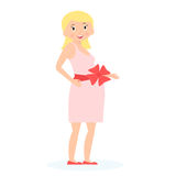 有礼物弓的孕妇在腹部 期望概念 平的样式 也corel凹道例证向量 免版税库存图片