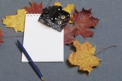 有礼物的一个黑匣子 有一个开放笔记薄和笔 下落的秋叶黄色和红色驱散表面上 库存图片