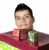 有礼物的人 免版税库存照片