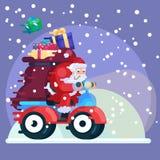 有礼物的圣诞老人在平的样式的滑行车新年圣诞夜动画片传染媒介五颜六色的例证 库存照片