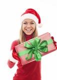 有礼物的圣诞老人妇女 免版税库存照片