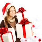 有礼物的圣诞节妇女 免版税图库摄影
