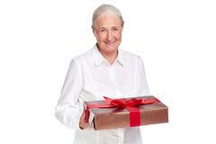 有礼物的女性 库存图片
