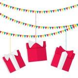 有礼物的欢乐诗歌选在有弓的红色箱子在生日、圣诞节和新年在一个平的样式 免版税库存照片