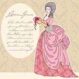 有礼物的美丽的葡萄酒妇女 免版税库存图片