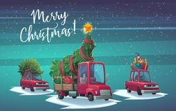 有礼物盒和卡车的汽车有杉树和大光亮的星的 图库摄影