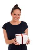 有礼物盒的愉快的妇女 图库摄影
