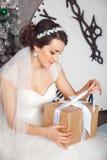 有礼物盒的手在婚礼庆祝 美丽的新娘演播室画象有礼物的 拿着礼物的新娘 圣诞节 免版税库存图片