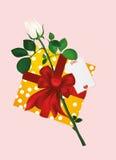 有礼物盒的白玫瑰和倒空消息或文本的空插件 库存图片