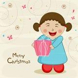 有礼物盒的逗人喜爱的小女孩庆祝圣诞快乐庆祝的 皇族释放例证