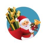 有礼物袋子和响铃的圣诞老人在手中 免版税库存图片