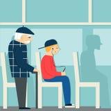有礼貌 退休的人在公共汽车上 给一个年长人让路 疲乏的人和年轻男孩有球员的 向量例证