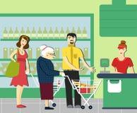 有礼貌 退休的妇女在超级市场 给一个年长人让路 超级市场出纳员 皇族释放例证