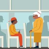 有礼貌 黑人妇女和黑人男孩 退休的妇女在公共汽车上 给一个年长人让路 疲乏的妇女 皇族释放例证