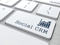 有社会客户关系管理按钮的键盘。 免版税库存照片