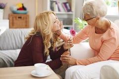 有祖母的逗人喜爱的白肤金发的孙女 免版税库存图片
