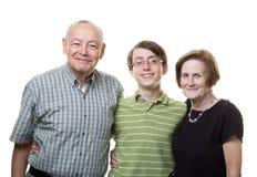 有祖父母的孙子 免版税库存照片