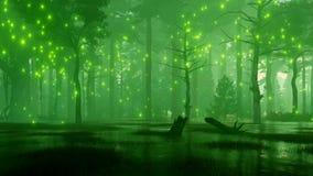 有神秘的萤火虫的湿软的夜森林点燃4K 皇族释放例证