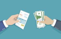 有票据和现金金钱的手 例证销售,购物,检查,收据,发货票,命令 付帐 物品的付款 皇族释放例证