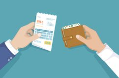 有票据的有金钱的手和钱包 例证销售购物 付帐 物品的付款,服务,公共事业,餐馆 库存例证