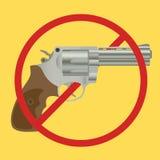 有禁令标志的没有枪禁令控制手枪 库存图片