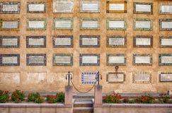 有福音书题字的Magnificat墙壁 免版税库存照片