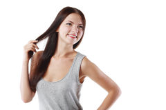 有秀丽头发的妇女 库存图片
