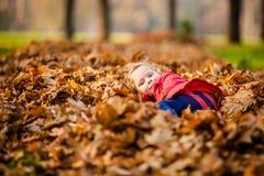 有秋叶的可爱的小女孩在同水准 库存照片