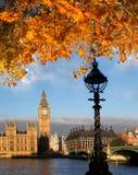 有秋叶的大本钟在伦敦,英国 免版税库存图片