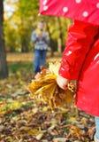 有秋叶的小女孩在秀丽公园 免版税库存照片