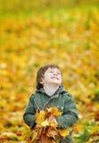 有秋叶的愉快的逗人喜爱的男孩在公园 免版税库存照片
