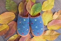 有秋叶的温暖的舒适羊毛拖鞋 免版税图库摄影
