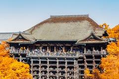 有秋叶的,日本- 10月2清水寺寺庙京都 免版税库存图片