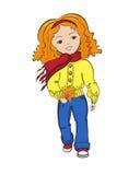 有秋叶花束的愉快的小女孩  免版税库存图片