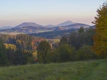 有秋天五颜六色的森林和树和小山bef的绿色草甸 免版税库存图片