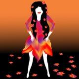 有秋天叶子裙子的女孩 向量例证