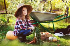 有秋天收获的-有机南瓜、红萝卜和zuccini愉快的农夫儿童女孩 免版税库存照片
