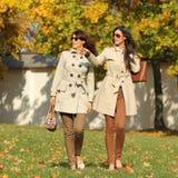 有秋天槭树的两名可爱的妇女在公园离开在秋天ou 免版税库存照片