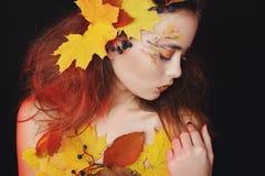 有秋天的美丽的少妇在演播室做摆在  库存图片