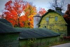 有秋天颜色的绿色谷仓 库存照片