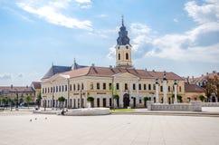 有科瓦茨议院的Unirii广场在奥拉迪亚 库存图片