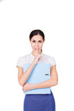 有秘密和做静寂姿态的企业衣裳的年轻女商人 查出 免版税图库摄影