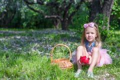 有秸杆篮子的可爱的小女孩 免版税库存照片