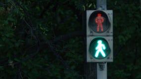 有移动的绿灯和保险柜的红绿灯 城市轻的业务量 红绿灯改变的颜色 免版税库存图片