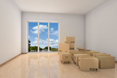 有移动配件箱的空的办公室空间 向量例证