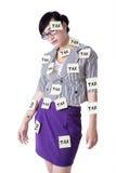 有税提示的女实业家 图库摄影