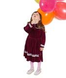 有空气baloons的迷人的孩子 免版税库存照片