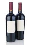 有空白标签的二个加伯奈葡萄酒瓶 免版税库存照片