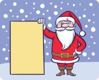 有空白的广告牌的站立的圣诞老人 向量例证
