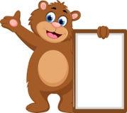 有空白的标志的动画片熊挥动的手 免版税库存照片